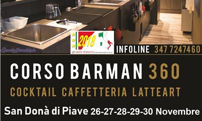 Corso Bartender 360° cocktail/caffetteria latte art
