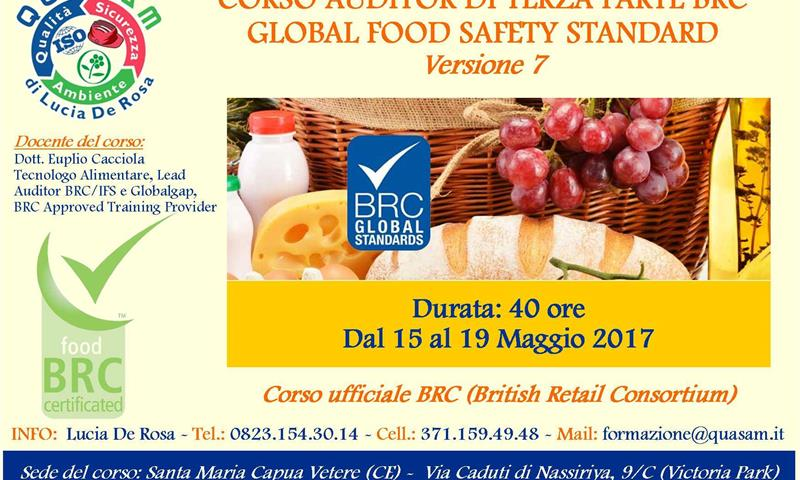Auditor di Terza Parte BRC (Global Food Safety Standard 7) - QUASAM di Lucia De Rosa